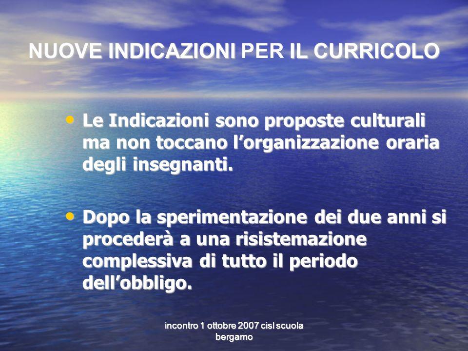 incontro 1 ottobre 2007 cisl scuola bergamo NUOVE INDICAZIONI IL CURRICOLO NUOVE INDICAZIONI PER IL CURRICOLO Le Indicazioni sono proposte culturali m