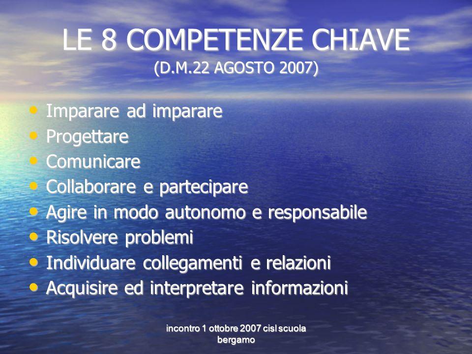 incontro 1 ottobre 2007 cisl scuola bergamo LE 8 COMPETENZE CHIAVE (D.M.22 AGOSTO 2007) Imparare ad imparare Imparare ad imparare Progettare Progettar