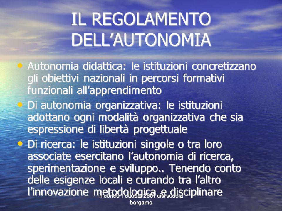 incontro 1 ottobre 2007 cisl scuola bergamo IL REGOLAMENTO DELLAUTONOMIA Autonomia didattica: le istituzioni concretizzano gli obiettivi nazionali in