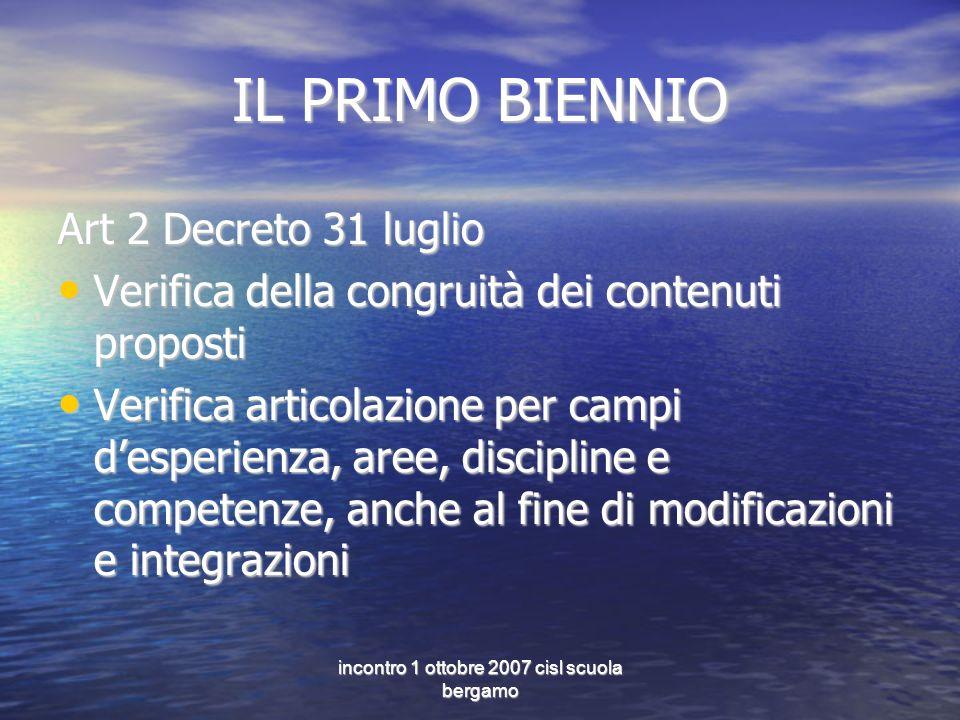 incontro 1 ottobre 2007 cisl scuola bergamo IL PRIMO BIENNIO Art 2 Decreto 31 luglio Verifica della congruità dei contenuti proposti Verifica della co