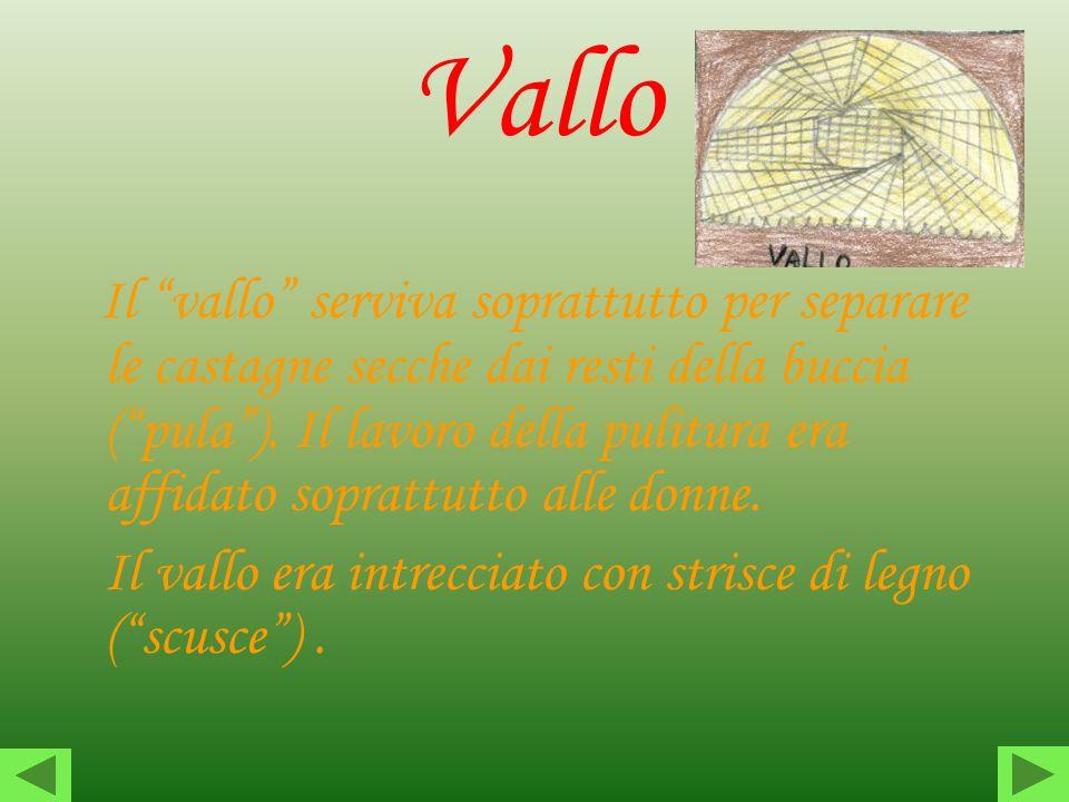 Vallo Il vallo serviva soprattutto per separare le castagne secche dai resti della buccia (pula). Il lavoro della pulitura era affidato soprattutto al