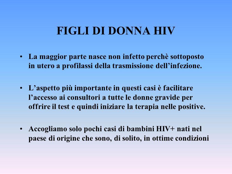 FIGLI DI DONNA HIV La maggior parte nasce non infetto perchè sottoposto in utero a profilassi della trasmissione dellinfezione. Laspetto più important