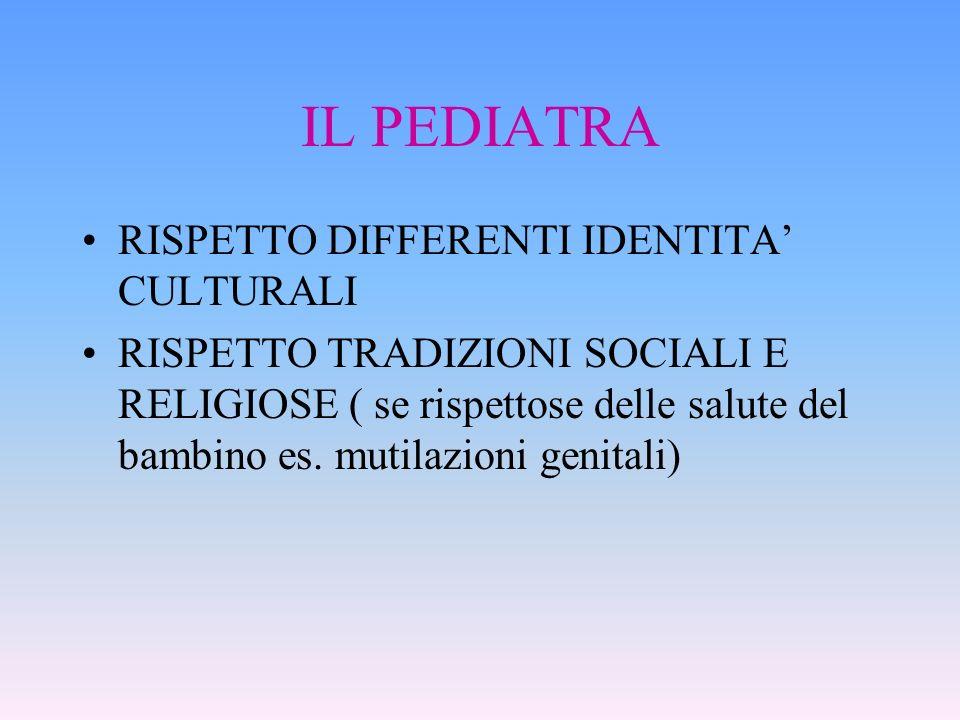 IL PEDIATRA RISPETTO DIFFERENTI IDENTITA CULTURALI RISPETTO TRADIZIONI SOCIALI E RELIGIOSE ( se rispettose delle salute del bambino es. mutilazioni ge