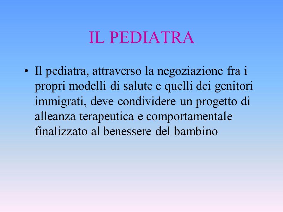 IL PEDIATRA Il pediatra, attraverso la negoziazione fra i propri modelli di salute e quelli dei genitori immigrati, deve condividere un progetto di al