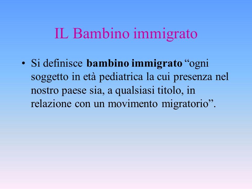 IL Bambino immigrato Si definisce bambino immigrato ogni soggetto in età pediatrica la cui presenza nel nostro paese sia, a qualsiasi titolo, in relaz