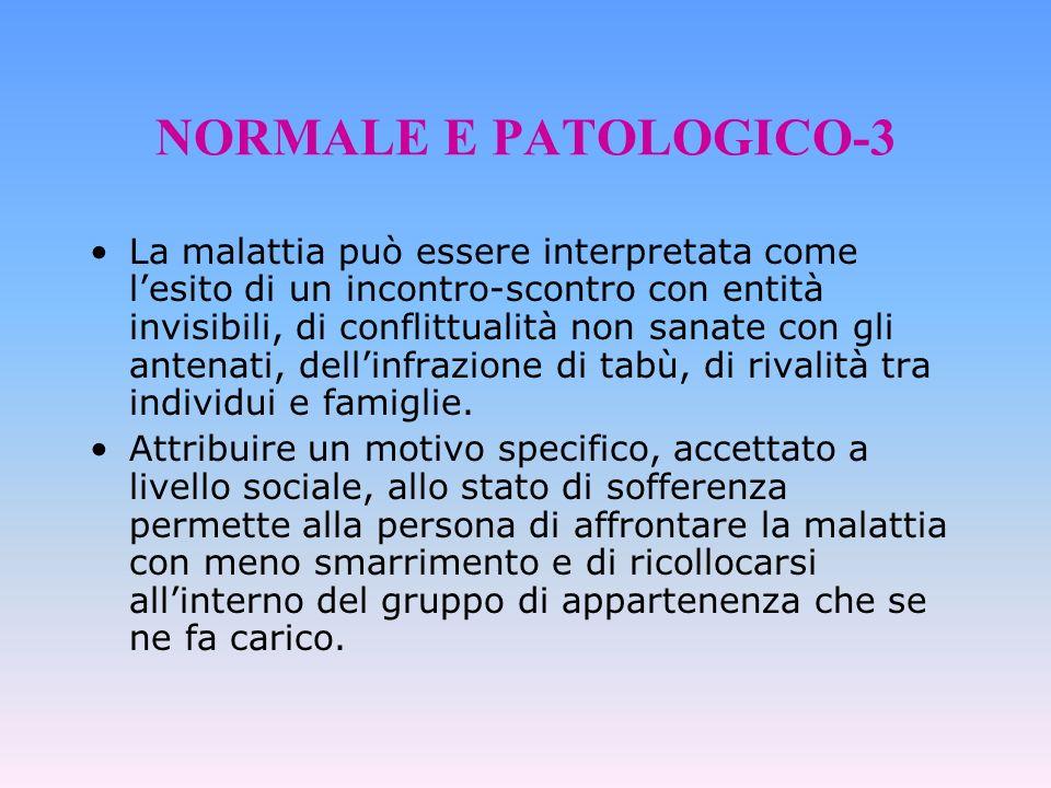 NORMALE E PATOLOGICO-3 La malattia può essere interpretata come lesito di un incontro-scontro con entità invisibili, di conflittualità non sanate con
