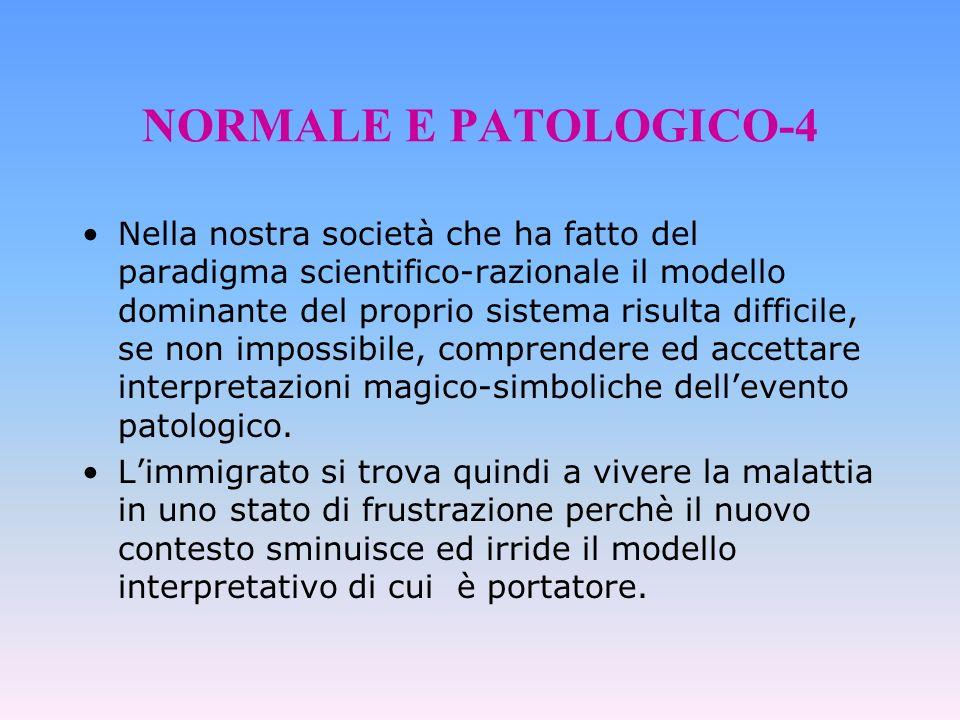 NORMALE E PATOLOGICO-4 Nella nostra società che ha fatto del paradigma scientifico-razionale il modello dominante del proprio sistema risulta difficil