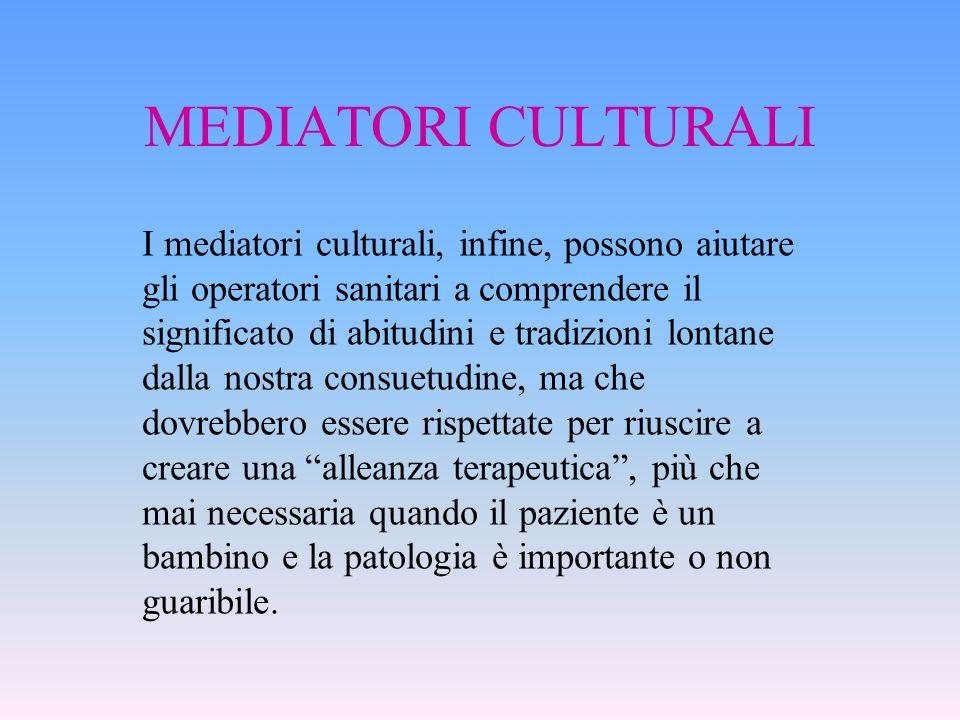 MEDIATORI CULTURALI I mediatori culturali, infine, possono aiutare gli operatori sanitari a comprendere il significato di abitudini e tradizioni lonta
