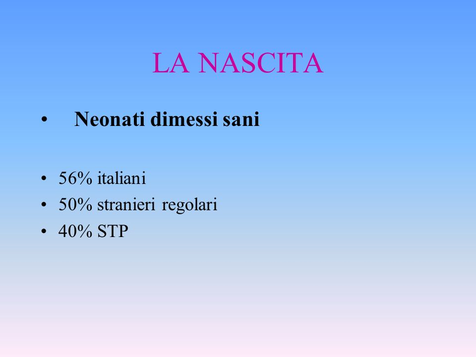LA NASCITA Neonati dimessi sani 56% italiani 50% stranieri regolari 40% STP