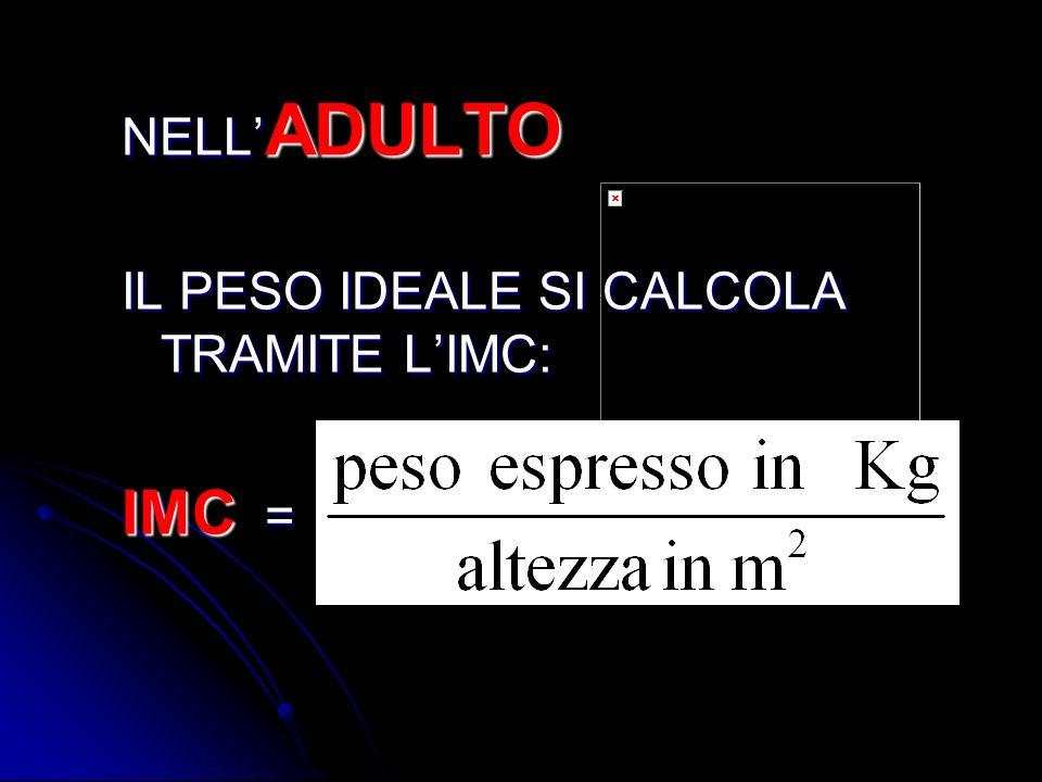 NELL ADULTO IL PESO IDEALE SI CALCOLA TRAMITE LIMC: IMC =