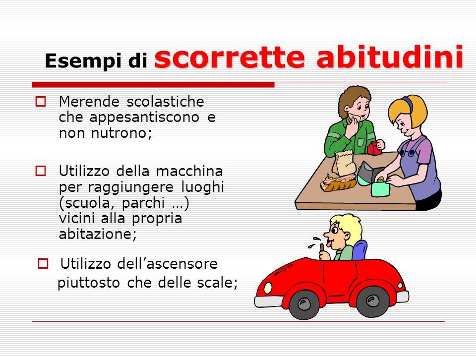 scorrette abitudini Esempi di scorrette abitudini Merende scolastiche che appesantiscono e non nutrono; Utilizzo della macchina per raggiungere luoghi