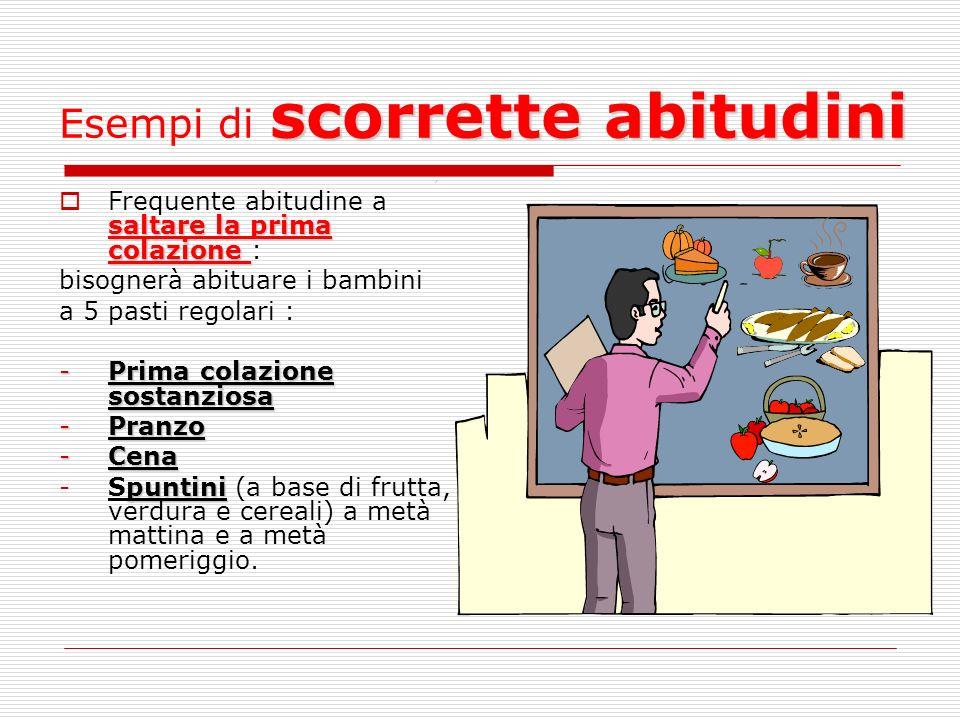 scorrette abitudini Esempi di scorrette abitudini saltare la prima colazione Frequente abitudine a saltare la prima colazione : bisognerà abituare i b