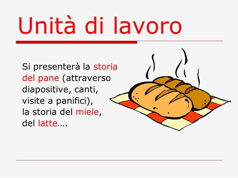 Unità di lavoro Si presenterà la storia del pane (attraverso diapositive, canti, visite a panifici), la storia del miele, del latte….