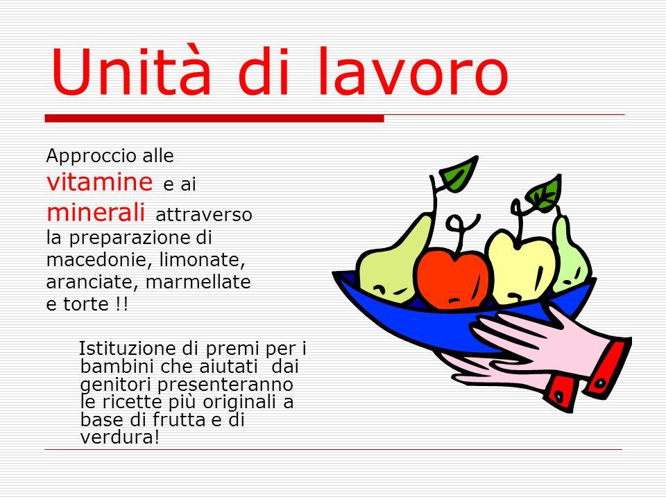 Unità di lavoro Approccio alle vitamine e ai minerali attraverso la preparazione di macedonie, limonate, aranciate, marmellate e torte !! Istituzione
