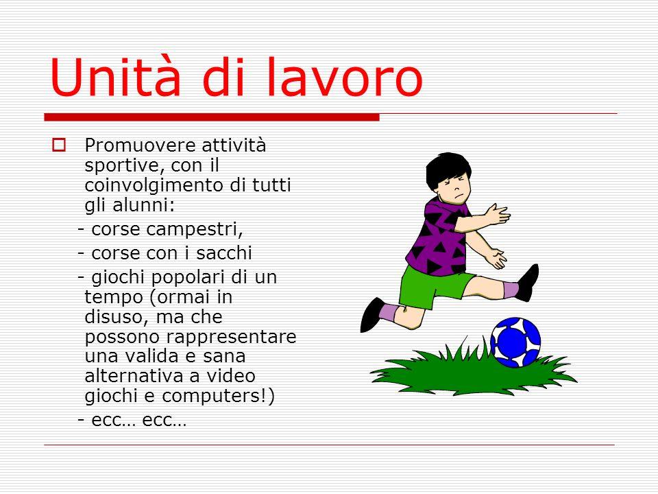 Unità di lavoro Promuovere attività sportive, con il coinvolgimento di tutti gli alunni: - corse campestri, - corse con i sacchi - giochi popolari di