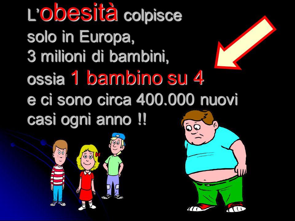 L obesità colpisce solo in Europa, 3 milioni di bambini, ossia 1 bambino su 4 e ci sono circa 400.000 nuovi casi ogni anno !!