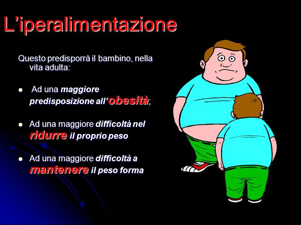Liperalimentazione Questo predisporrà il bambino, nella vita adulta: Ad una maggiore predisposizione all obesità ; Ad una maggiore predisposizione all