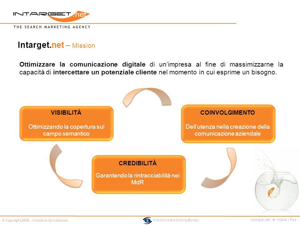 Intarget.net Milano | Pisa © Copyright 2008 - Vietata la riproduzione Interactive Advertising Bureau Ottimizzare la comunicazione digitale di unimpres