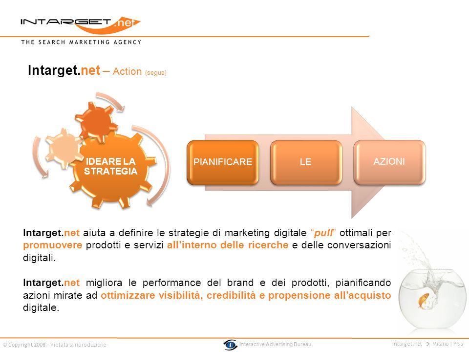 Intarget.net Milano | Pisa © Copyright 2008 - Vietata la riproduzione Interactive Advertising Bureau IDEARE LA STRATEGIA PIANIFICARELEAZIONI Intarget.