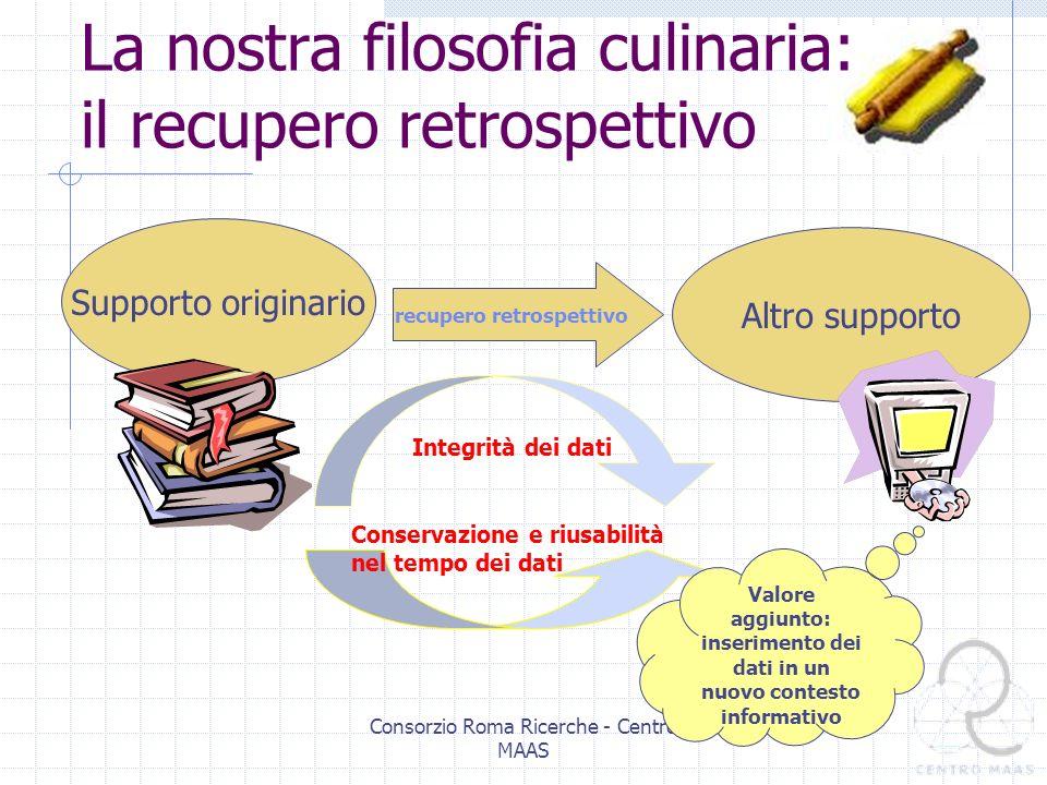 Consorzio Roma Ricerche - Centro MAAS Per recupero retrospettivo intendiamo la trasposizione dell informazione da un qualsiasi supporto di origine ad un diverso supporto.