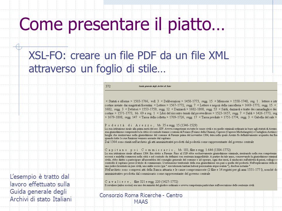 Consorzio Roma Ricerche - Centro MAAS Una ricetta elaborata ( ): DB IR HighWay Export File marcato XML … generazione di files xml direttamente visualizzabile su browser web ed interrogabile attraverso una evoluzione xml nativa dellinformation retrieval