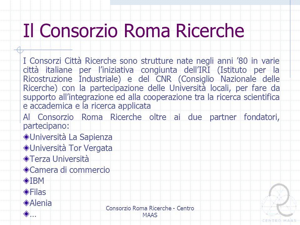 Consorzio Roma Ricerche - Centro MAAS Struttura della ricetta Ipotizzando una grammatica formale di una ricetta, si riconoscono come suoi componenti essenziali: Gli ingredienti di base Le operazioni elementari I risultati intermedi Concatenazione di operazioni, eseguite in sequenza o parallelamente