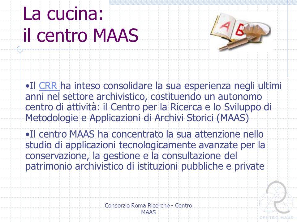 Consorzio Roma Ricerche - Centro MAAS Il Consorzio Roma Ricerche I Consorzi Città Ricerche sono strutture nate negli anni 80 in varie città italiane per liniziativa congiunta dellIRI (Istituto per la Ricostruzione Industriale) e del CNR (Consiglio Nazionale delle Ricerche) con la partecipazione delle Università locali, per fare da supporto allintegrazione ed alla cooperazione tra la ricerca scientifica e accademica e la ricerca applicata Al Consorzio Roma Ricerche oltre ai due partner fondatori, partecipano: Università La Sapienza Università Tor Vergata Terza Università Camera di commercio IBM Filas Alenia …