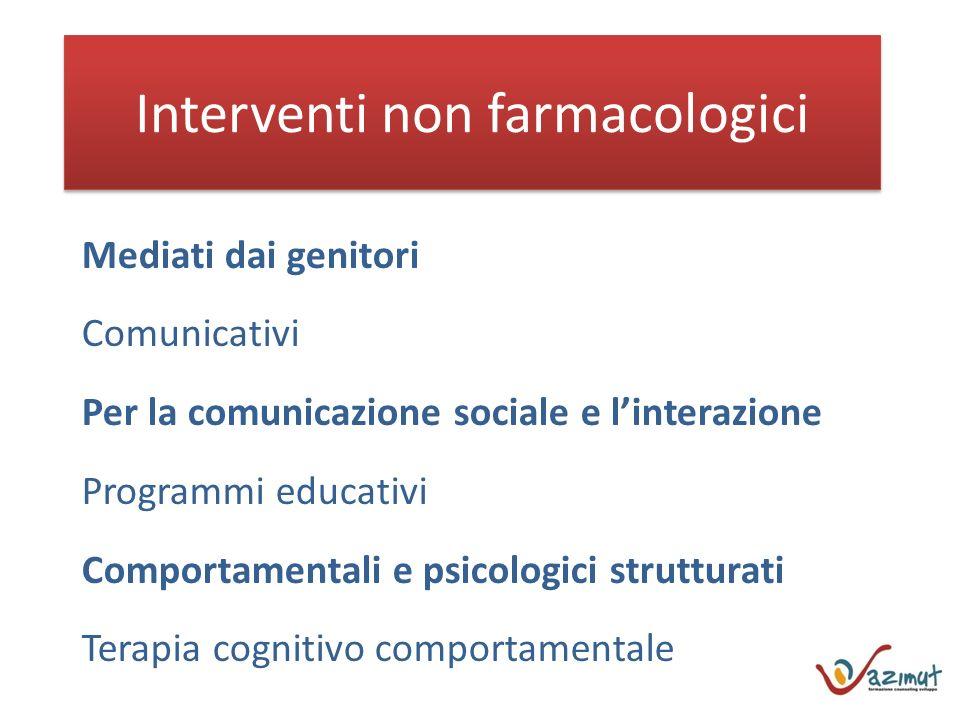Interventi non farmacologici Mediati dai genitori Comunicativi Per la comunicazione sociale e linterazione Programmi educativi Comportamentali e psicologici strutturati Terapia cognitivo comportamentale