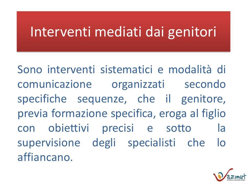 Interventi mediati dai genitori Sono interventi sistematici e modalità di comunicazione organizzati secondo specifiche sequenze, che il genitore, prev