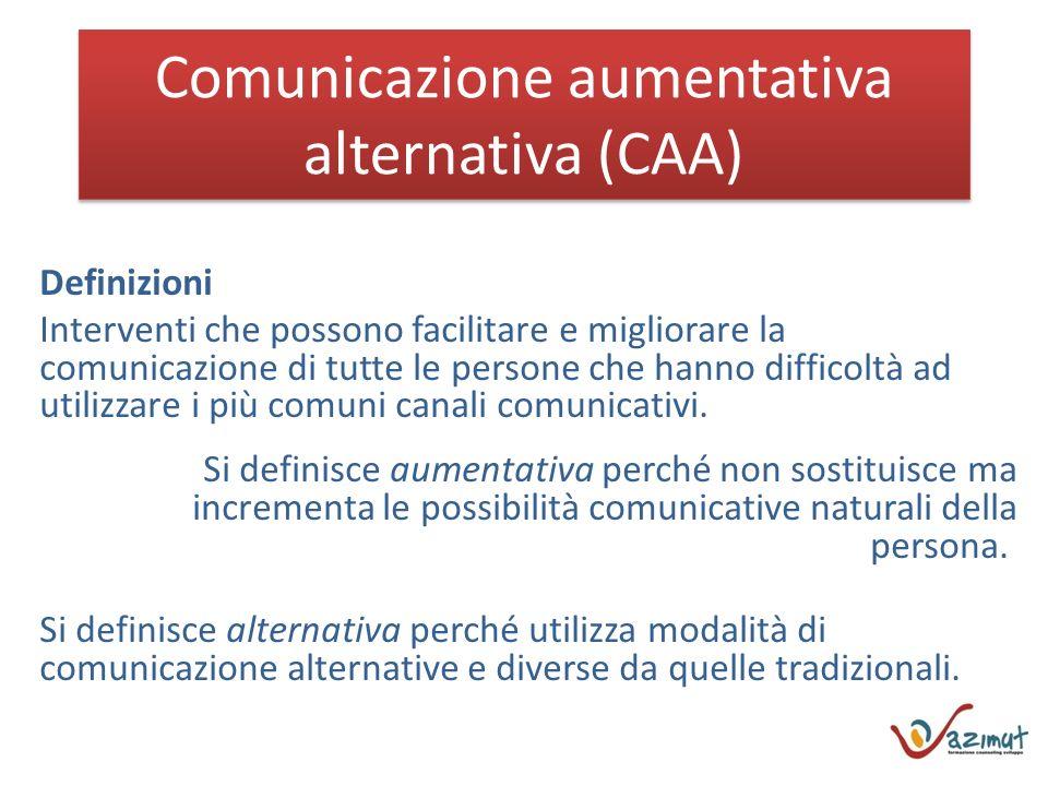 Comunicazione aumentativa alternativa (CAA) Definizioni Interventi che possono facilitare e migliorare la comunicazione di tutte le persone che hanno difficoltà ad utilizzare i più comuni canali comunicativi.