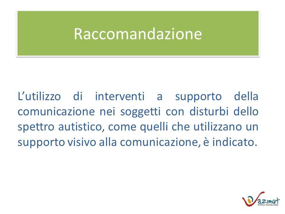 Raccomandazione Lutilizzo di interventi a supporto della comunicazione nei soggetti con disturbi dello spettro autistico, come quelli che utilizzano un supporto visivo alla comunicazione, è indicato.