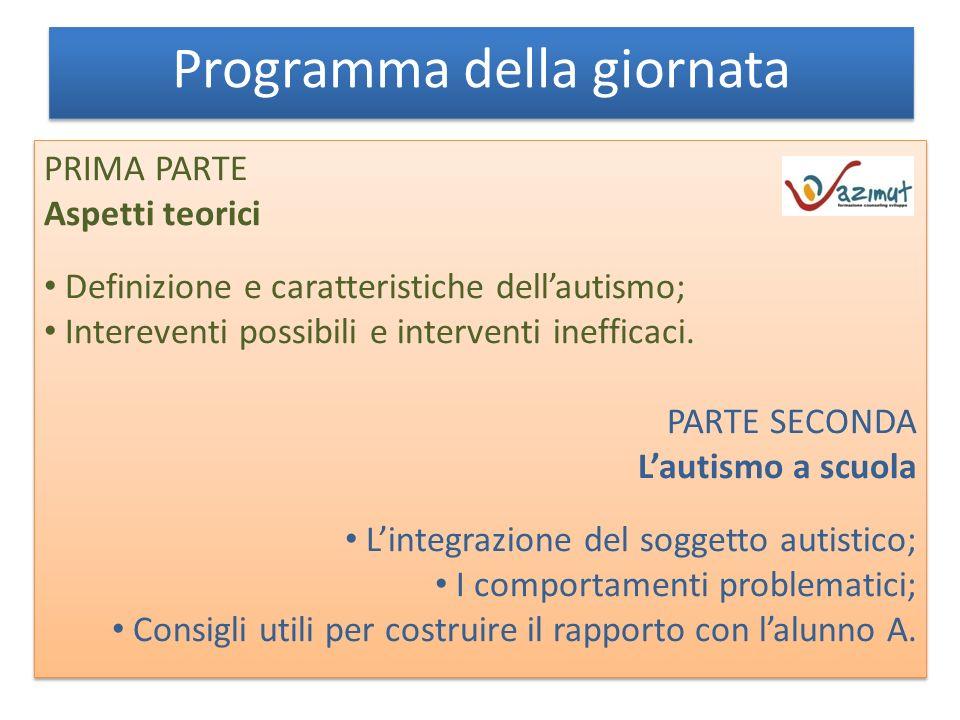 Programma della giornata PRIMA PARTE Aspetti teorici Definizione e caratteristiche dellautismo; Intereventi possibili e interventi inefficaci.