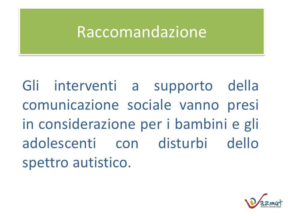 Raccomandazione Gli interventi a supporto della comunicazione sociale vanno presi in considerazione per i bambini e gli adolescenti con disturbi dello spettro autistico.