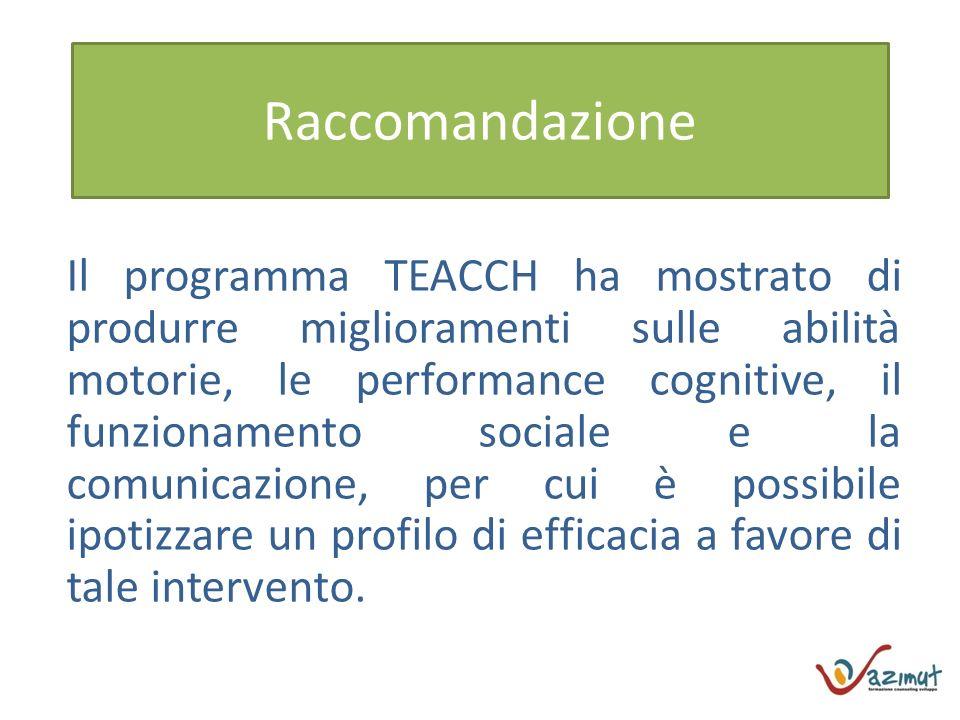 Raccomandazione Il programma TEACCH ha mostrato di produrre miglioramenti sulle abilità motorie, le performance cognitive, il funzionamento sociale e la comunicazione, per cui è possibile ipotizzare un profilo di efficacia a favore di tale intervento.