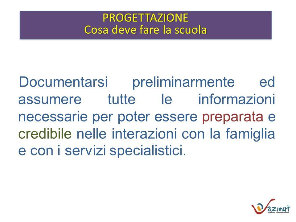 PROGETTAZIONE Cosa deve fare la scuola PROGETTAZIONE Documentarsi preliminarmente ed assumere tutte le informazioni necessarie per poter essere prepar