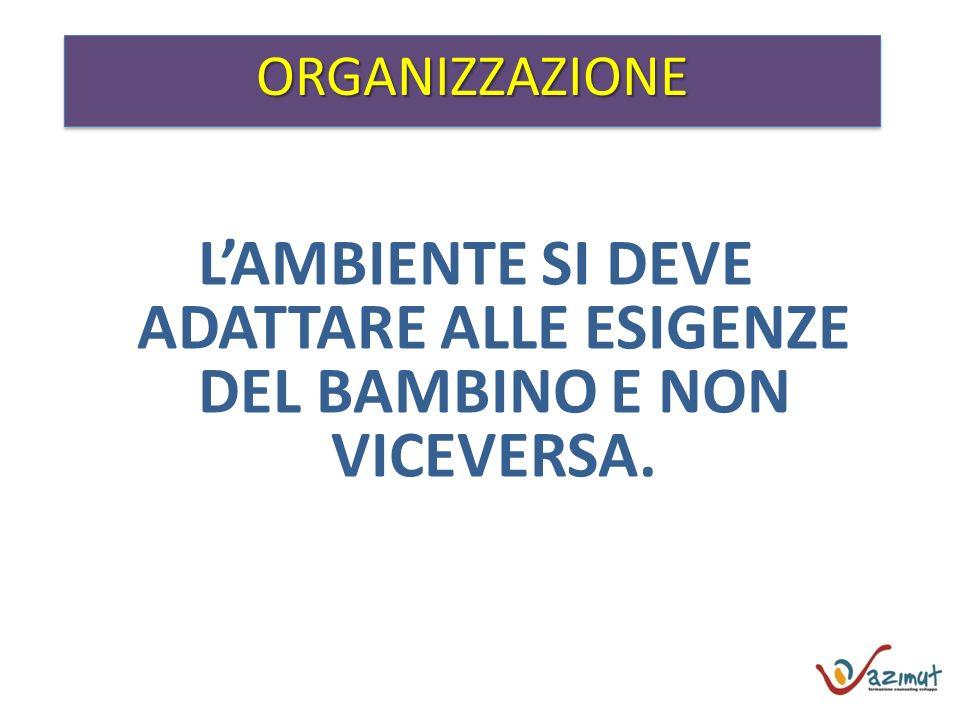 ORGANIZZAZIONEORGANIZZAZIONE LAMBIENTE SI DEVE ADATTARE ALLE ESIGENZE DEL BAMBINO E NON VICEVERSA.