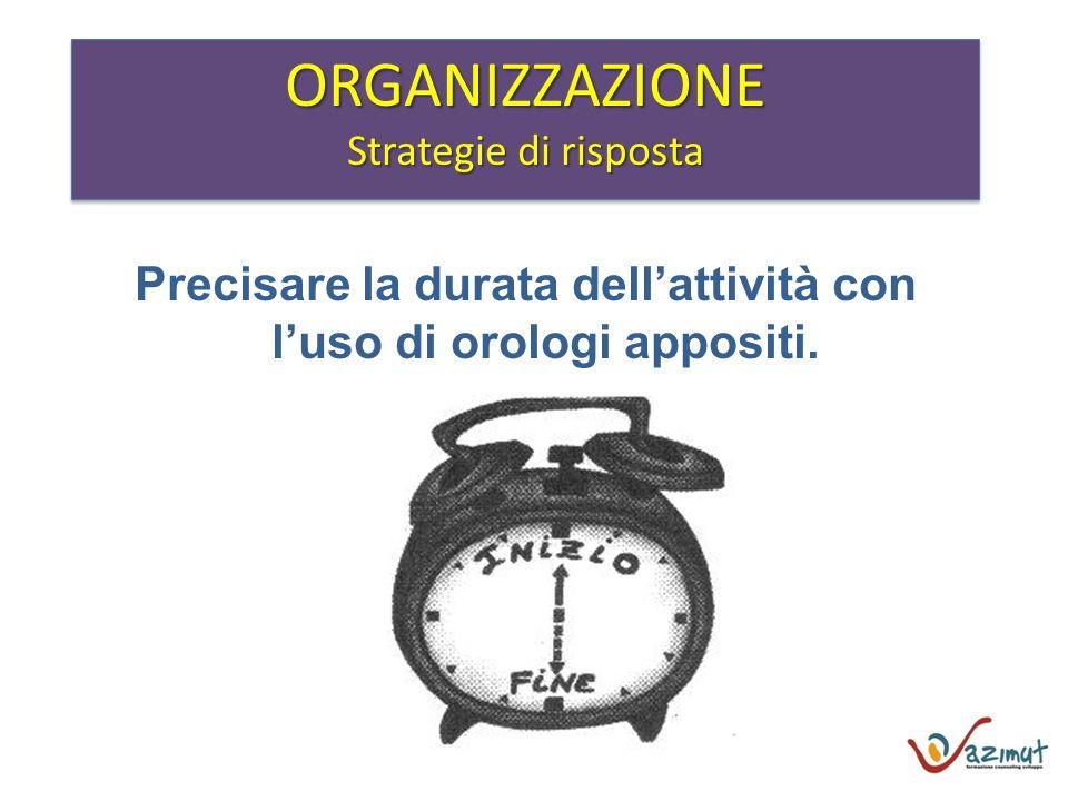 Precisare la durata dellattività con luso di orologi appositi. ORGANIZZAZIONE Strategie di risposta ORGANIZZAZIONE
