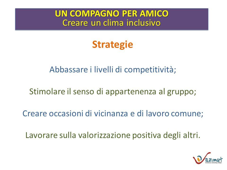 UN COMPAGNO PER AMICO Creare un clima inclusivo UN COMPAGNO PER AMICO Creare un clima inclusivo Strategie Abbassare i livelli di competitività; Stimol