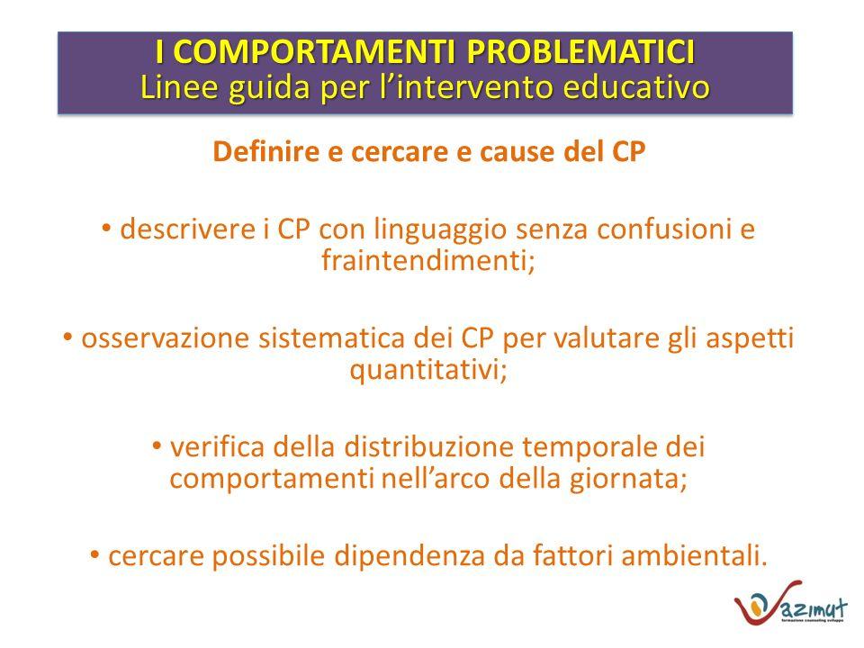 I COMPORTAMENTI PROBLEMATICI Linee guida per lintervento educativo I COMPORTAMENTI PROBLEMATICI Linee guida per lintervento educativo Definire e cerca