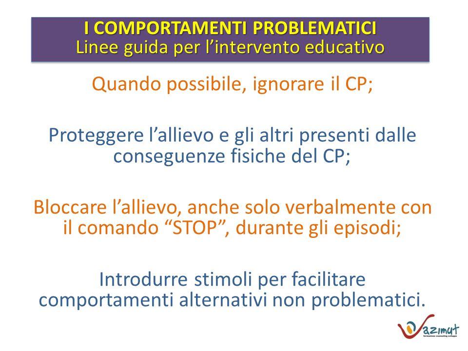 I COMPORTAMENTI PROBLEMATICI Linee guida per lintervento educativo I COMPORTAMENTI PROBLEMATICI Linee guida per lintervento educativo Quando possibile