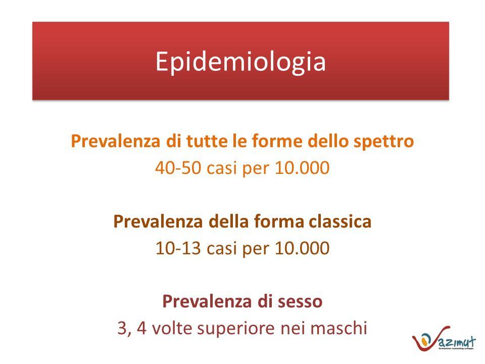 Epidemiologia Prevalenza di tutte le forme dello spettro 40-50 casi per 10.000 Prevalenza della forma classica 10-13 casi per 10.000 Prevalenza di sesso 3, 4 volte superiore nei maschi