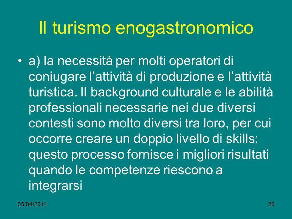 05/04/201420 Il turismo enogastronomico a) la necessità per molti operatori di coniugare lattività di produzione e lattività turistica.