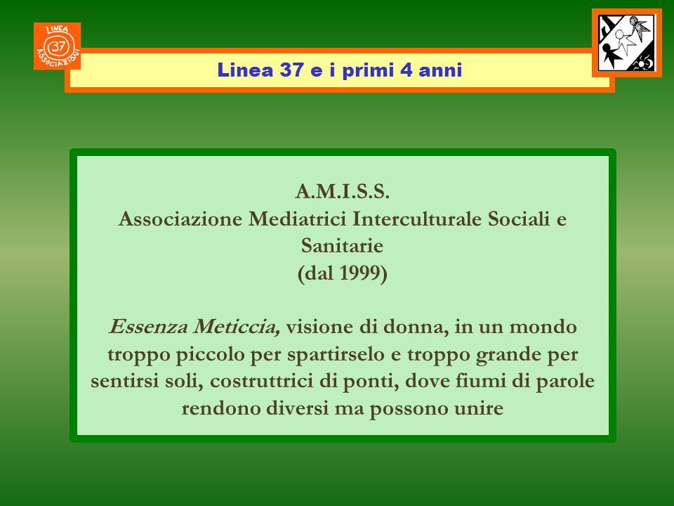 Linea 37 e i primi 4 anni A.M.I.S.S. Associazione Mediatrici Interculturale Sociali e Sanitarie (dal 1999) Essenza Meticcia, visione di donna, in un m