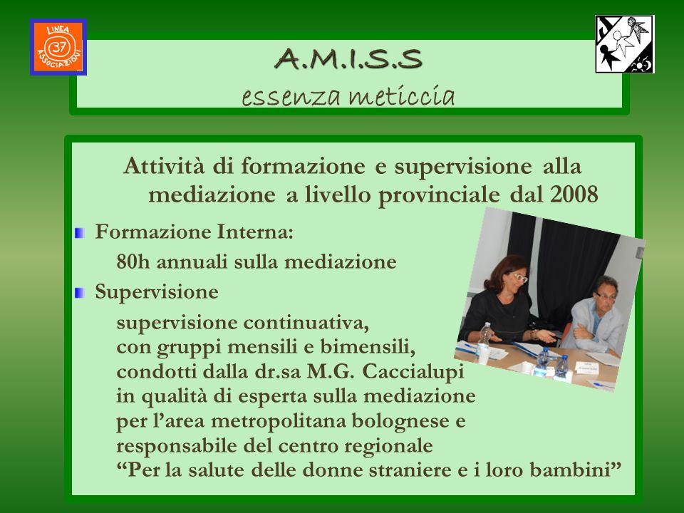Attività di formazione e supervisione alla mediazione a livello provinciale dal 2008 Formazione Interna: 80h annuali sulla mediazione Supervisione sup
