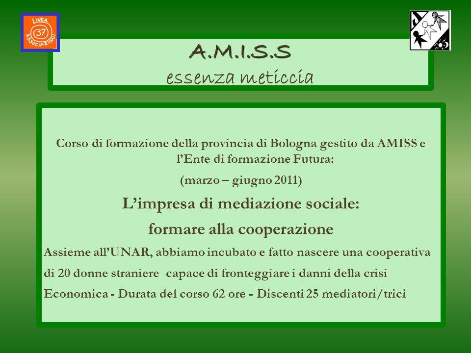 Corso di formazione della provincia di Bologna gestito da AMISS e lEnte di formazione Futura: (marzo – giugno 2011) Limpresa di mediazione sociale: fo