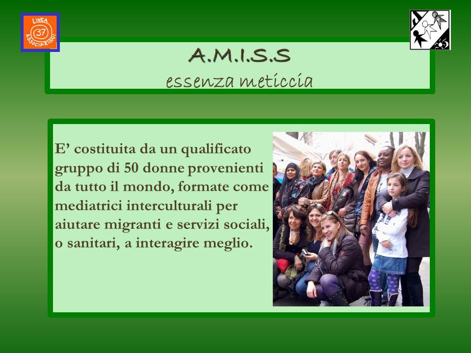Grazie alla sede di Linea 37, Amiss svolge unintensa attività di promozione sociale per far incontrare nativi e stranieri, sostenendo lempowerment di attività, gruppi e associazioni locali: Ass.