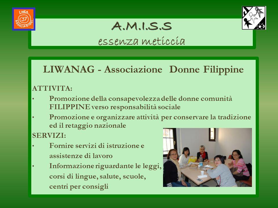 LIWANAG - Associazione Donne Filippine ATTIVITA: Promozione della consapevolezza delle donne comunità FILIPPINE verso responsabilità sociale Promozion