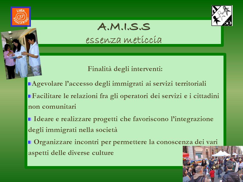 Finalità degli interventi: Agevolare laccesso degli immigrati ai servizi territoriali Facilitare le relazioni fra gli operatori dei servizi e i cittad