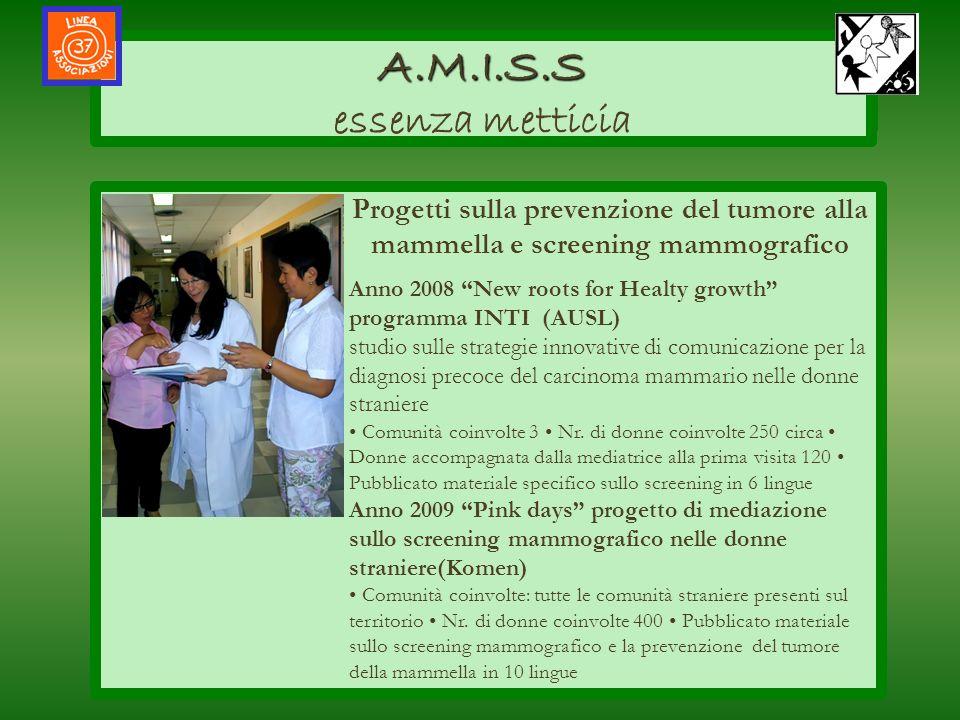 AMISS A.M.I.S.S A.M.I.S.S essenza metticia Progetti sulla prevenzione del tumore alla mammella e screening mammografico Anno 2008 New roots for Healty