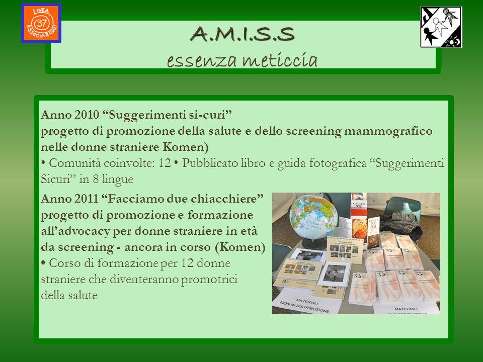 AMISS A.M.I.S.S A.M.I.S.S essenza meticcia salute allinterno delle loro comunità Anno 2010 Suggerimenti si-curi progetto di promozione della salute e